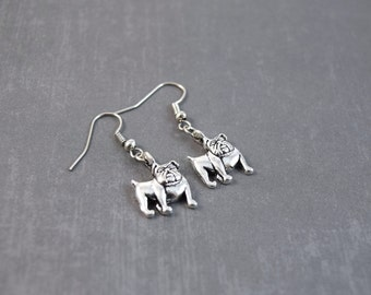 English Bulldog Earrings, Bulldog Jewelry, Pet Earrings, Dog Earrings, Bulldog Gift, Pet Lover Gifts, Dangle Earrings Silver, Gifts Under 10