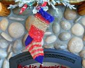 Prim Handknit Christmas Stockings, Rustic American Stockings,