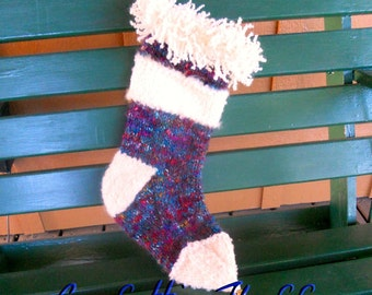 Blue Knit Christmas Stockings, , Personalized Hand Knit stockings