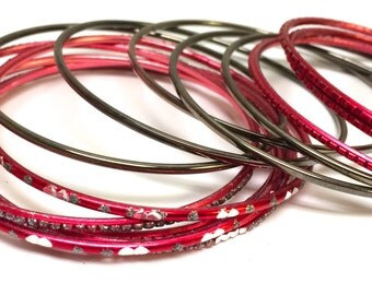 Set of Fourteen Vintage Red, Rhinestone, and Silver Tone Stackable Boho Bangle Bracelets