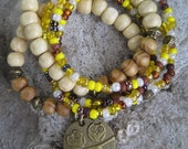 Wood and Seed Bead Gypsy Bohemian Stack Stretch Bracelet Set with Owl Charm