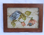 NoreensPaintings Theorem Painting of Blue Fledgling Bird and Rose