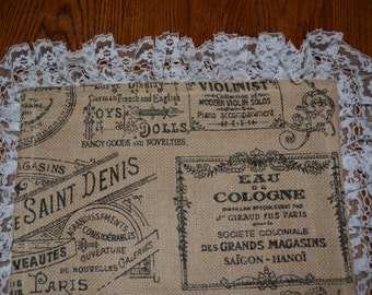 Handmade Burlap Runner Cottage Chic French Country Hipster Paris Burlap and Lace Muslin Lined Wedding Table Runner
