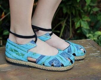 Blue Hmong Embroidery and Batik, Womens Espadrille With Ankle Wrap Flat Boho Shoe - Dahlia Wrap