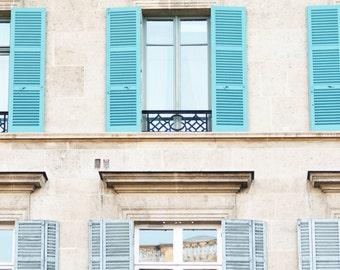 Paris Photography - Blue Shutters, Paris Architectural Fine Art Photograph, Large Wall Art, French Home Decor