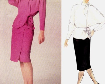 PATTERN Vogue 1620 Loose fit wrap top with neck tie and waist tie and wrap skirt Size 12 Emanuel Ungaro uncut