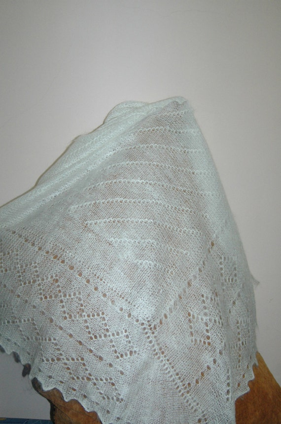 Square Hand-knitted Warm White Goat Wool Shawl