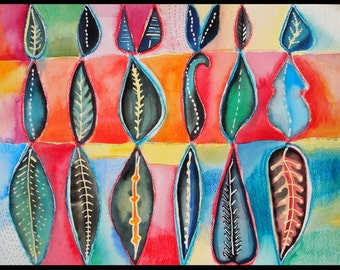 """Original watercolor painting, abstract art, """"Stacked Leaves"""""""