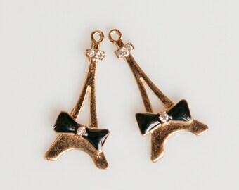 PenBkE413 - Paris Eiffel Tower Pendants in Light Gold with Black Enamel Bows - 2 Pieces