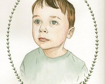Custom Portrait Watercolor Painting Drawing