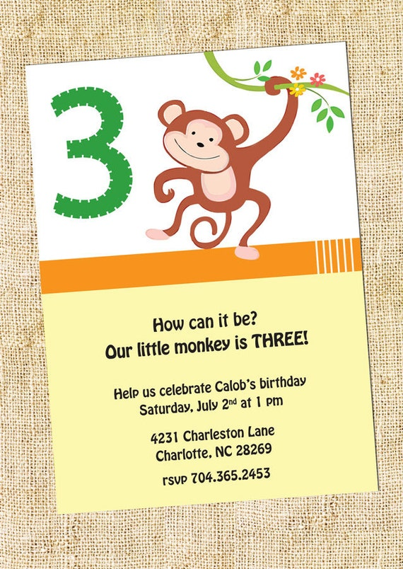 Monkey Birthday Party Invitation