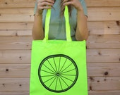 WOW SALE Neon Safety Yellow Tote Bag with bike wheel