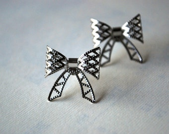 Silver Bow Earrings -- Silver Bows, Silver