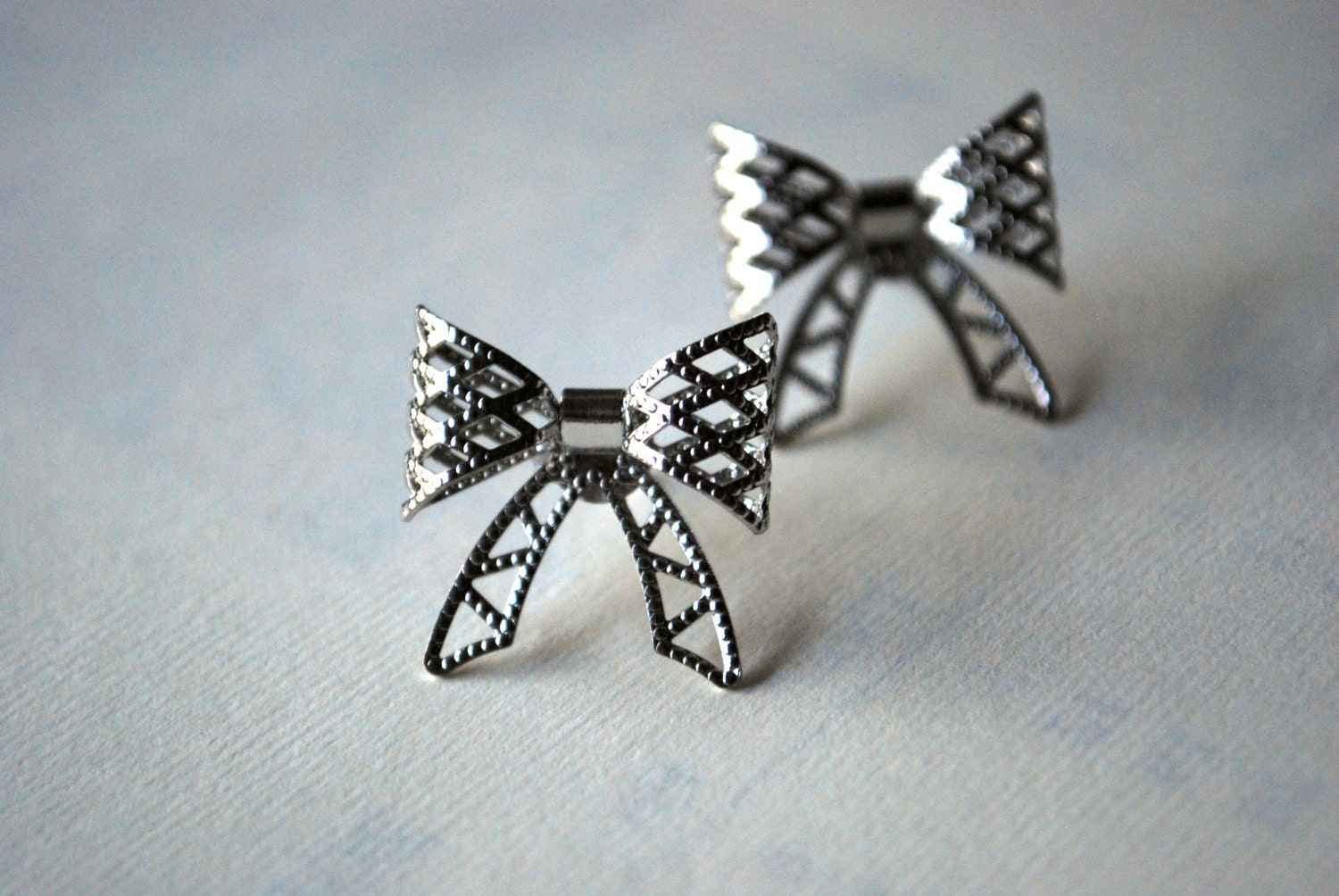 silver bow earrings silver bows silver