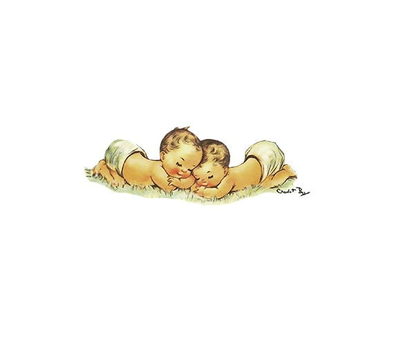Vintage Birthday Card Sleeping Babies JPEG PNG Instant