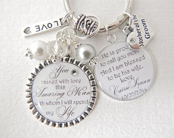 mother of groom gift thank you for raising man of my dreams keychain daughter