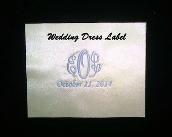 Monogrammed Wedding Dress Label with Date