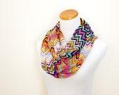 gauze infinity scarf cowl summer scarf  - chevron zigzag stripe - multi color
