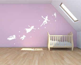 Peter Pan Wall Decal, Sticker, Fantasy Fairytale Mural, Childrens Nursery  Magic Tinker Bell