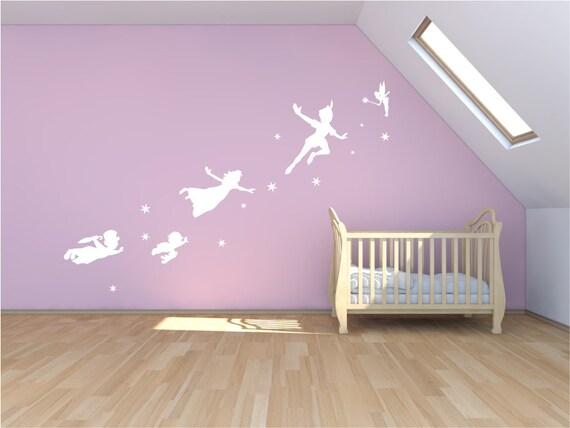 Peter pan wall decal sticker fantasy fairytale mural for Kinderzimmer gestalten wand
