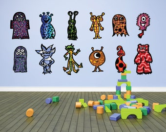 Monster decals Large Size- kids room decor- fabric removable decals