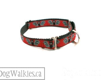 """Fangtabulous Bats Halloween Dog Collar - 3/4"""" (19mm) Wide - Martingale or Quick Release - Choice of size and style"""
