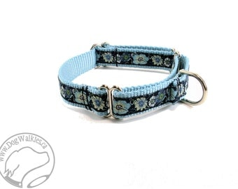 "Moonlit Blue Flowers Dog Collar -  3/4"" (19mm) Wide - Choice of size and style - Quick Side Release or Martingale Dog Collar"