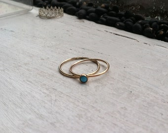3mm Turquoise December Birthstone 14k Gold Fill Stacking Ring Set of 2 or More, custom made to order