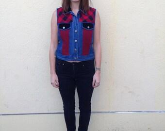 red and black checkered denim vest w/ plush velvety collar & pocket flaps