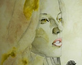 Moss - Large Watercolor - Forest Girl and Her Bird - 22 x 24 Framed Original Artwork