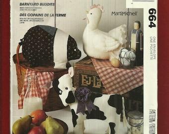 McCalls 664 Farm Fresh Barnyard Buddies Cow Pig & Chicken Stuffed Animals Pattern UNCUT