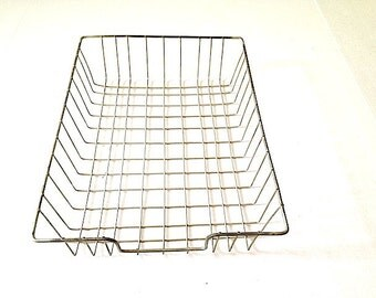 Vintage Metal File Filing Tray Organizer Holder, Mid Century Desk Organizer, Galvanized Metal Wire Desk Filing System, Industrial Storage,