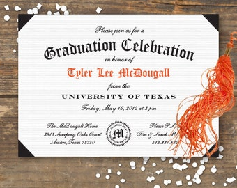 Graduation Party Invitation Printable - Diploma