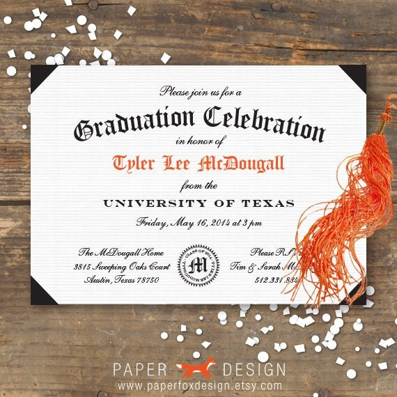 Graduation Party Invitation Printable Diploma by PaperFoxDesign