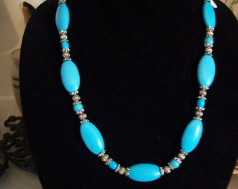Turquoise Necklace, Beadwork-SALE-