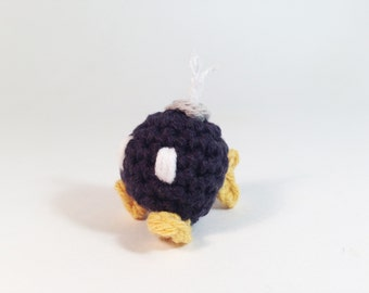Bob-omb Bomb from Super Mario Crocheted Amigurumi Kawaii Keychain Miniature