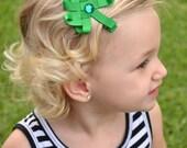 Shamrock Ribbon Sculpture - St Patricks Day Hair Clip - Green Shamrock Hair Bow - Green Clover Hair Clip