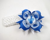 Father's Day Hair Bow - Father's Day Headband - Blue and White Hair Bow - Fathers Day Hair Clip - Toddler Child Baby -  HEADBAND OPTIONS