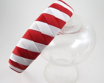 Red and White Headband - Red Headband - White Headband - Striped Headband - Headband - Ribbon Woven Headband - Braided Headband