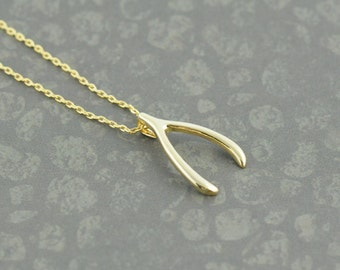 Gold Wish Bone Necklace. Wishbone Necklace in Gold. Jennifer Aniston Inspired. Lucky Amulet. Make a Wish. Lucky Charm.