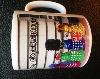 Dr Who Daleks as Tourists in London, England Mug