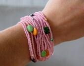 Pink and multicolor,Crochet Beaded Bracelet, Woman Cuff Bracelet, Fashion Summer Jewelery Bracelet, Knit Cuff Bracelett