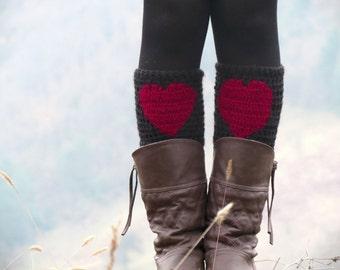 Burgundy Black Short Heart Boot Cuffs. Love Heart Short Leg Warmers. Crochet heart Boot Cuffs Legwear burgundy red, Womens Boot Cuff, Teens