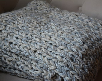 Knit Afghan / Throw Blanket / Warm Sweater Throw