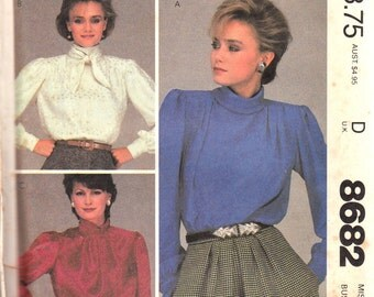1980s Blouse Pattern McCalls 8682 Size 12 Uncut