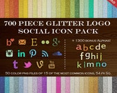 HUGE Social Media Icon Package - 700 Glitter Blog Button Icons - Transparent Social Network Buttons Instagram Icon, Twitter Icon and more!