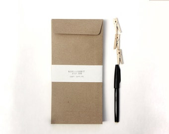 """Recycled Kraft Paper Envelopes (open end), Long Size 4.2x9.2"""" in or 10.5x23 cm, for A4, A5 letter, eco-friendly packaging - set of 25"""