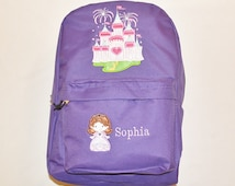 Backpack Personalized Little BRUNETTE Sophie Princess Cutie with Castle Appliqued Girls Book Bag