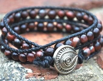 Wrap around bracelet - red tigereye beads with silver clasp