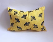 Bumble Bee Oblong Throw Pillow ~ Hand Stamped Fabric